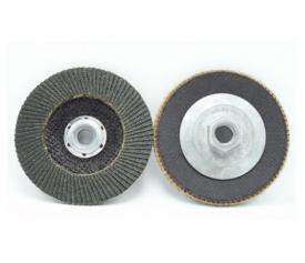 Flap disc with alloyed hub backing