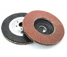Flap disc with metallic flange backing