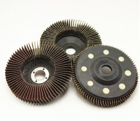 Vertical aluminum oxide flap disc