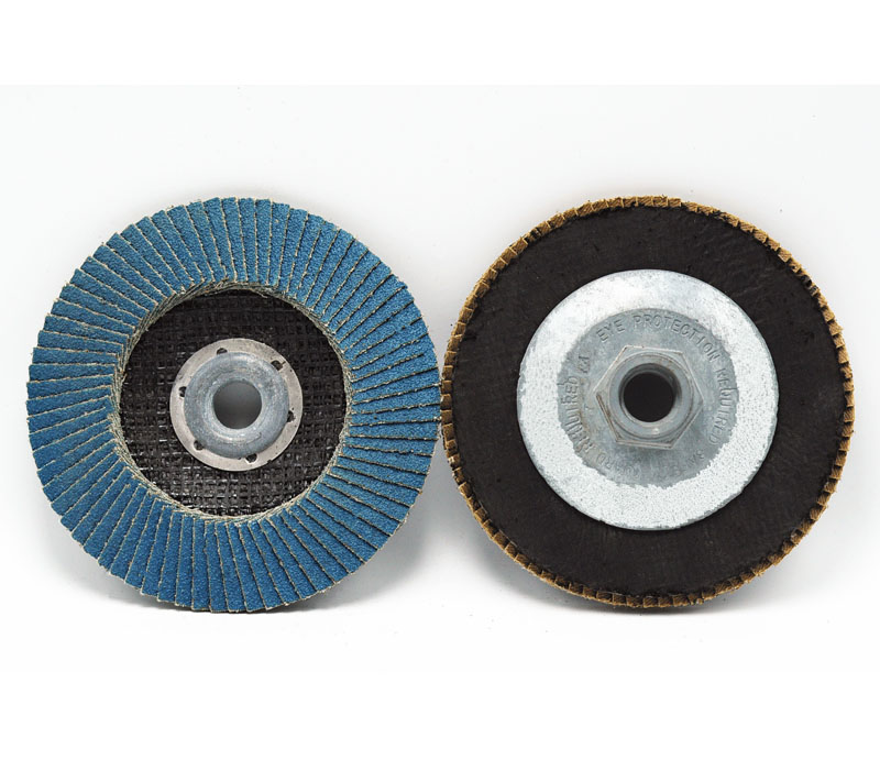 Flap disc with alloyed hub backing