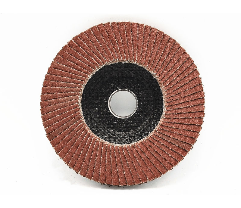 Flap disc with metallic flange backing